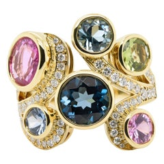 JAG New York 18 Karat Yellow Gold Ring with a Variety of Gemstones
