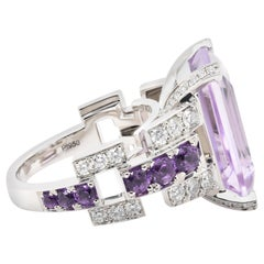 JAG New York Amethyst and Diamond Ring Created in Platinum