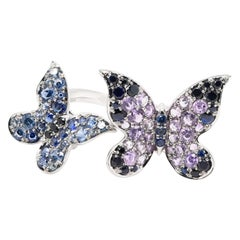 JAG New York Butterfly Ring Created with Sapphires, Amethysts and Diamonds
