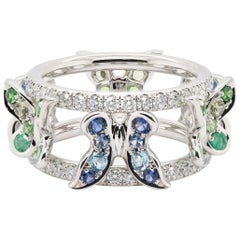 JAG New York Butterfly Ring with Topaz, Emeralds, Tsavorite, Sapphires, Diamonds