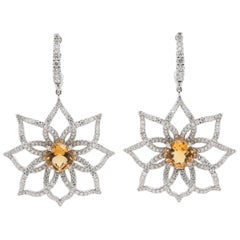 JAG New York Citrine and Diamond Petal Earrings Created in Platinum
