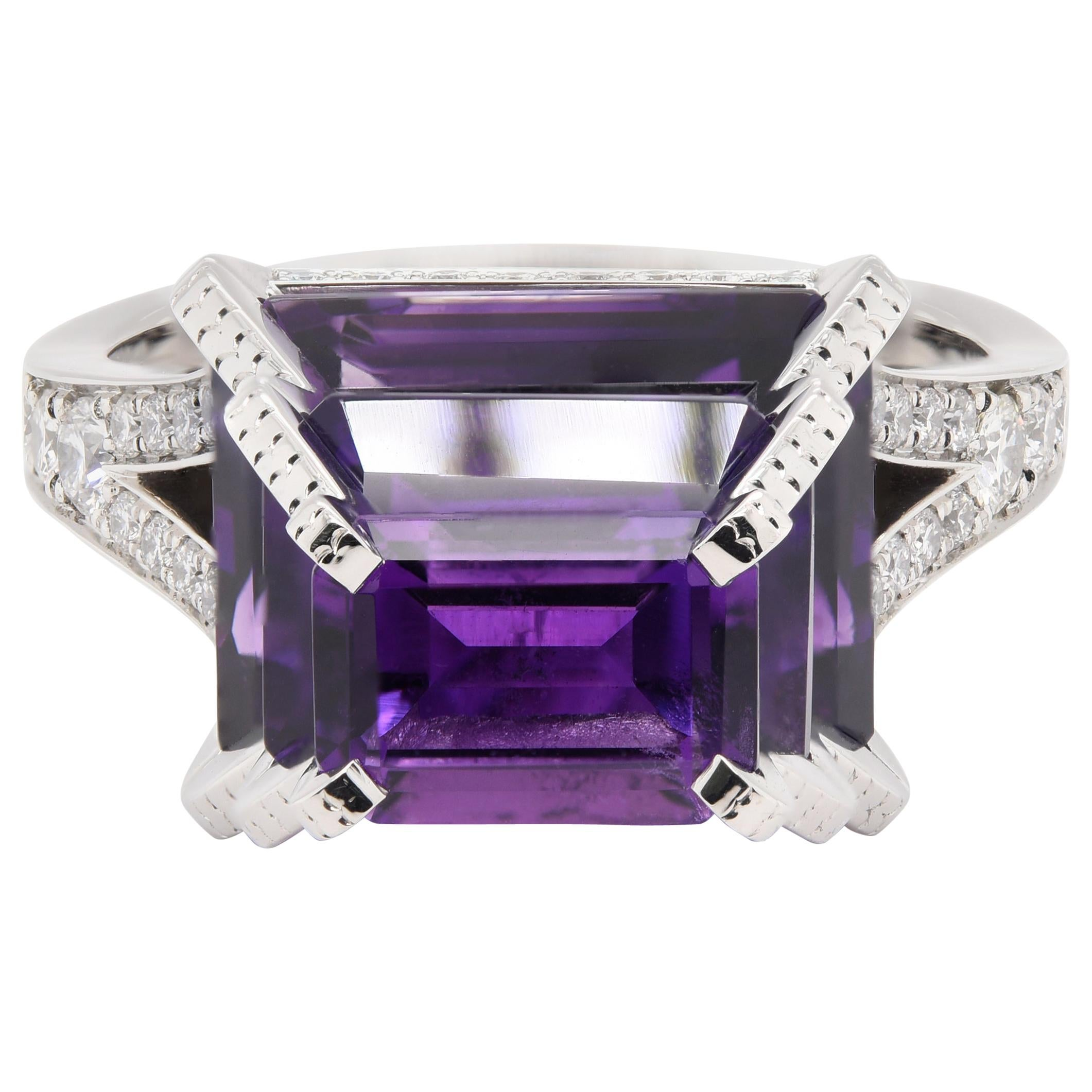 JAG New York Diamond and Amethyst Ring in Platinum