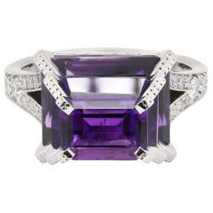 JAG New York Diamond and Amethyst Ring in Platinum