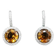 JAG New York Diamond and Yellow Citrine Halo Earrings in Platinum