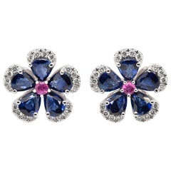 JAG New York Diamond, Pink and Blue Sapphire Earrings Created in Platinum