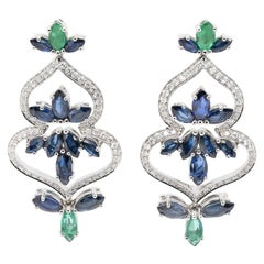 JAG New York Diamond, Sapphire and Emerald Drop Earrings in Platinum