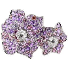 JAG New York Double Flower Ring with Diamonds, Amethyst, Purple Sapphires