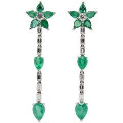 JAG New York Emerald and Diamond Flower Design Drop Earrings in Platinum