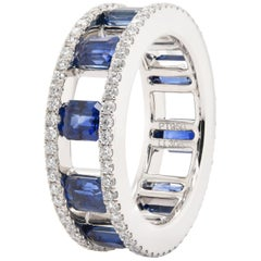 JAG New York Emerald Cut Sapphires and Diamond Eternity Ring in Platinum