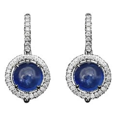 JAG New York Halo Earrings with Cabochon Sapphires and Diamonds Set in Platinum