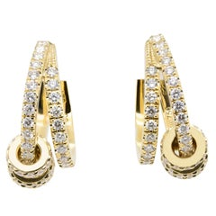 JAG New York Hoop Diamond Earrings in 18 Karat Yellow Gold
