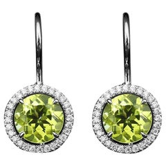 JAG New York Peridot and Diamond Halo Earrings in Platinum