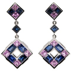 JAG New York Pink and Blue Sapphires in a Checkerboard Design Set Platinum