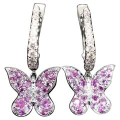 JAG New York Pink Sapphire Butterfly Earrings with Lever Backs in Platinum