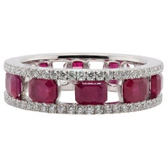 JAG New York Ruby and Diamond Band in Platinum