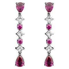 JAG New York Ruby and Diamond Dangle Earrings in Platinum