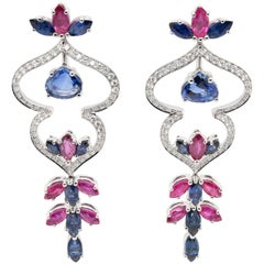 JAG New York Ruby and Sapphire Drop Earrings Created in Platinum