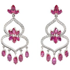 JAG New York Ruby Flowers on an Open Spade of Diamonds in Platinum