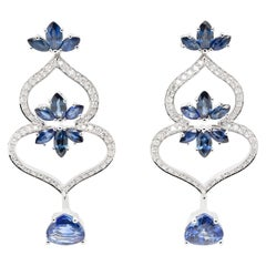 JAG New York Sapphire and Diamond Earrings in Platinum Shaped Like Spades