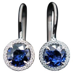 JAG New York Sapphire and Diamond Halo Earrings Set in Platinum
