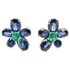 JAG New York Sapphire and Emerald Earrings Created in Platinum