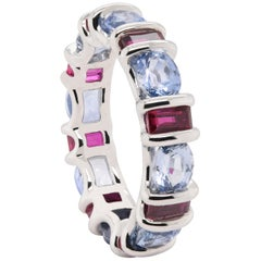 JAG New York Sapphire and Ruby Eternity Band in Platinum