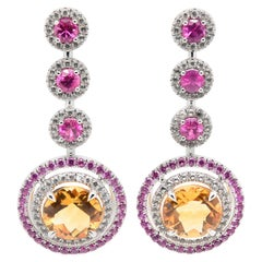 JAG New York Sapphire, Ruby, Citrine and Topaz Drop Earrings in Platinum