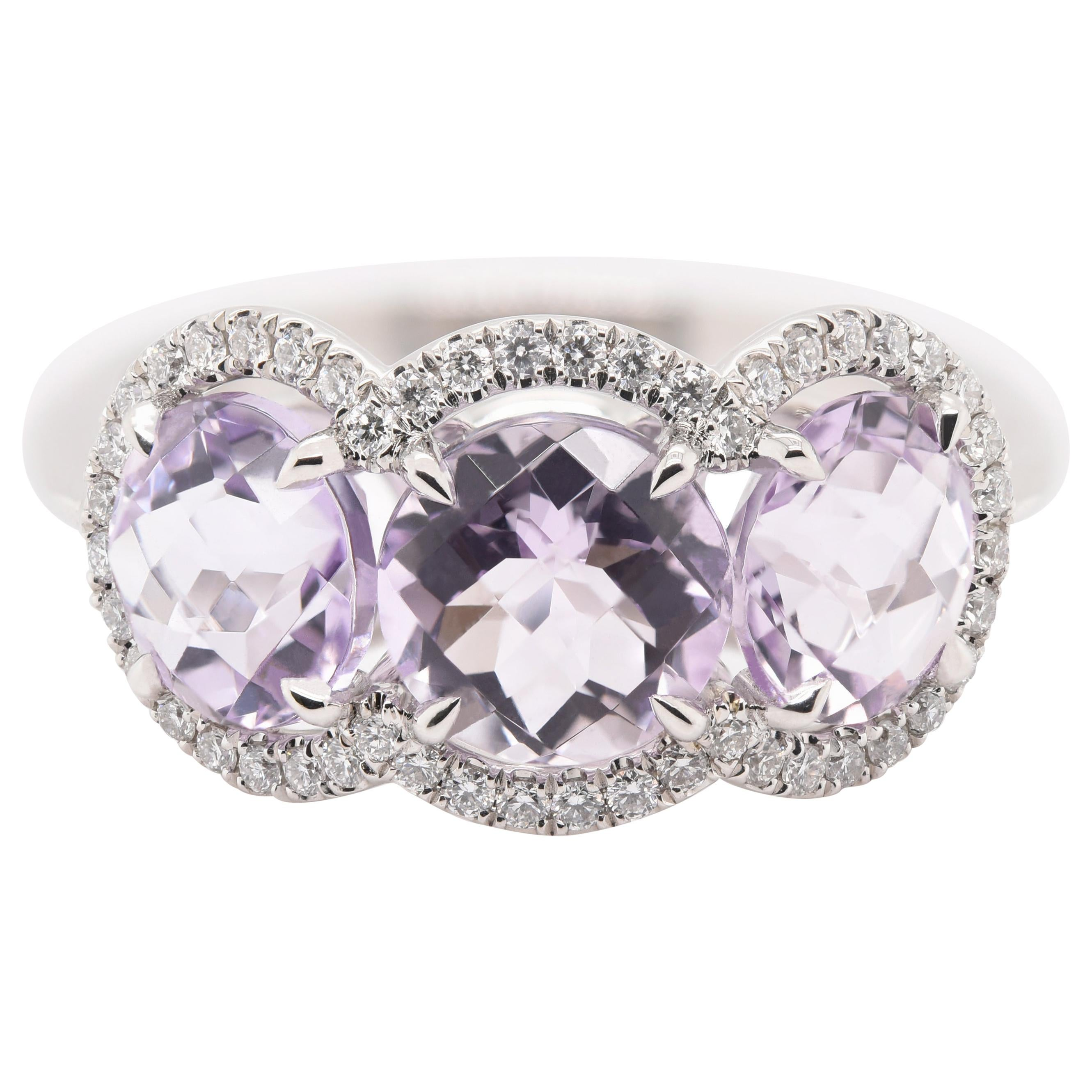 JAG New York Three Amethyst Surrounded by Diamond Halos Ring in Platinum