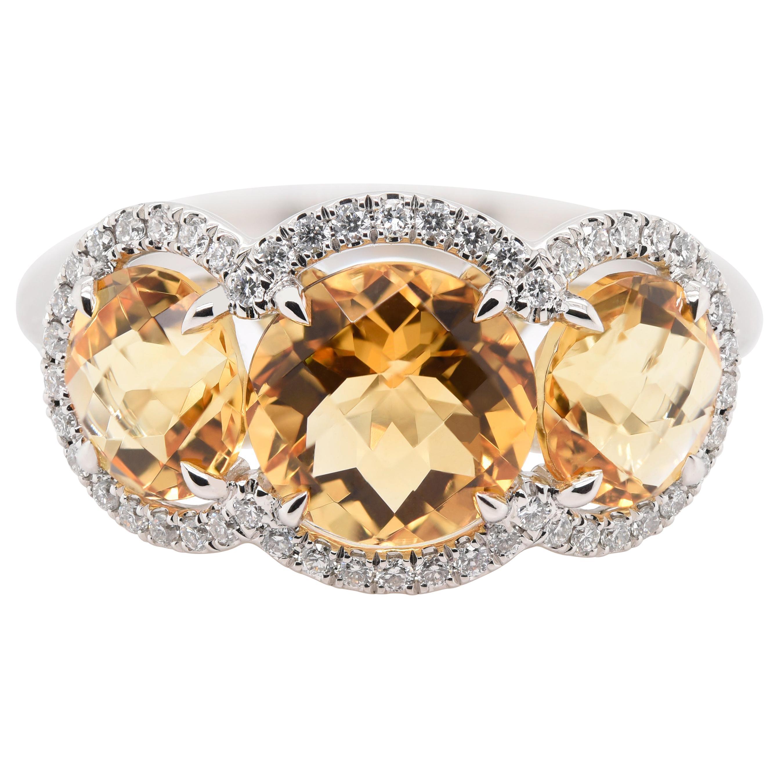 JAG New York Three Citrine Surrounded by Diamond Halos Ring in Platinum