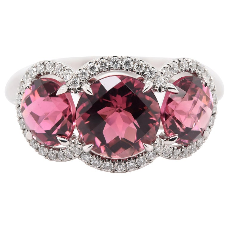 JAG New York Three Pink Tourmalines Surrounded by Diamond halos Ring in Platinum For Sale