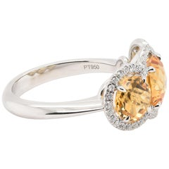 JAG New York Three-Stone Citrine Ring with Diamond Halos