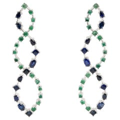 JAG New York Wave, Drop Earrings with Sapphires and Emeralds in Platinum