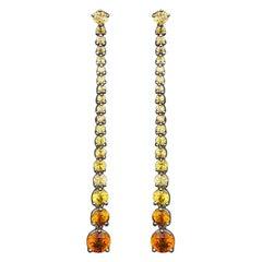 JAG New York Yellow Sapphire Dangle Earrings in Platinum