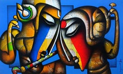 """Bond of Love, Relationship, Charcoal, Acrylic, Red, Blue, Green, Brown""""In Stock"""""""