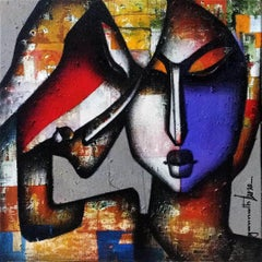 """Bond of Love Series, Charcoal & Acrylic on Canvas, Contemporary Artist""""In Stock"""""""