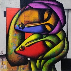 """Bond of Love Series, Charcoal & Acrylic on Canvas, Indian Artist """"In Stock"""""""