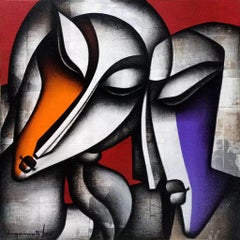 """Bond of Love Series, Charcoal, Acrylic on Canvas, Violet, Orange, Red """"In Stock"""""""