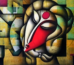 "Dotted Diva, Charcoal & Acrylic on Canvas, Red, Green by Indian Artist""In Stock"""