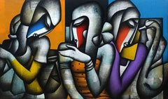 "Togetherness, Charcoal, Acrylic on Canvas, from India ""In Stock"""