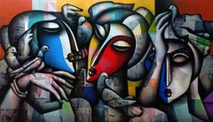 """Togetherness, Charcoal, Acrylic on Canvas, Orange, Blue, Red, Yellow """"In Stock"""""""