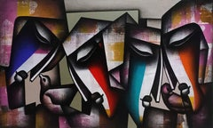 "Togetherness, Charcoal, Acrylic on Canvas, Pink, Blue, Red, Indian Art""In Stock"""