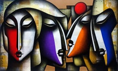 "Togetherness, Charcoal, Acrylic on Canvas, Red, Blue, Green from India""In Stock"""