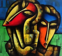 """Togetherness, Charcoal & Acrylic on Canvas, Red, Blue, Indian Art """"In Stock"""""""