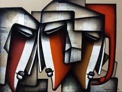"Togetherness, Charcoal, Acrylic on Canvas, Red, Brown by Indian Artist""In Stock"""