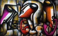 "Togetherness, Charcoal, Acrylic on Canvas, Red, Orange, Pink, Yellow ""In Stock"""