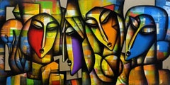"""Togetherness, Charcoal, Acrylic on Canvas, Red, Yellow, Indian Artist """"In Stock"""""""