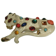 Jaguar Leopard Kenneth Jay Lane Jeweled Enamel Big Cat Designer Brooch Pin KJL