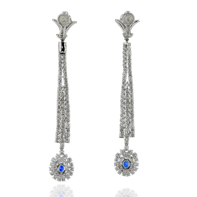 Round Cut Jahan Diamond and Sapphire Long Dangle Earrings For Sale