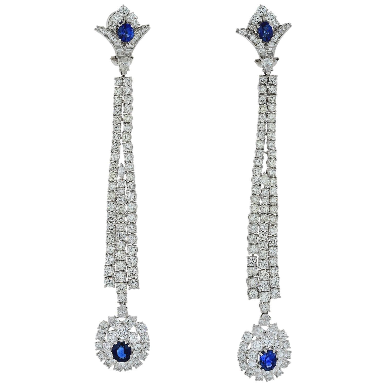 Jahan Diamond and Sapphire Long Dangle Earrings
