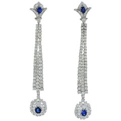 Jahan Diamond and Sapphire Long Dangle Earrings